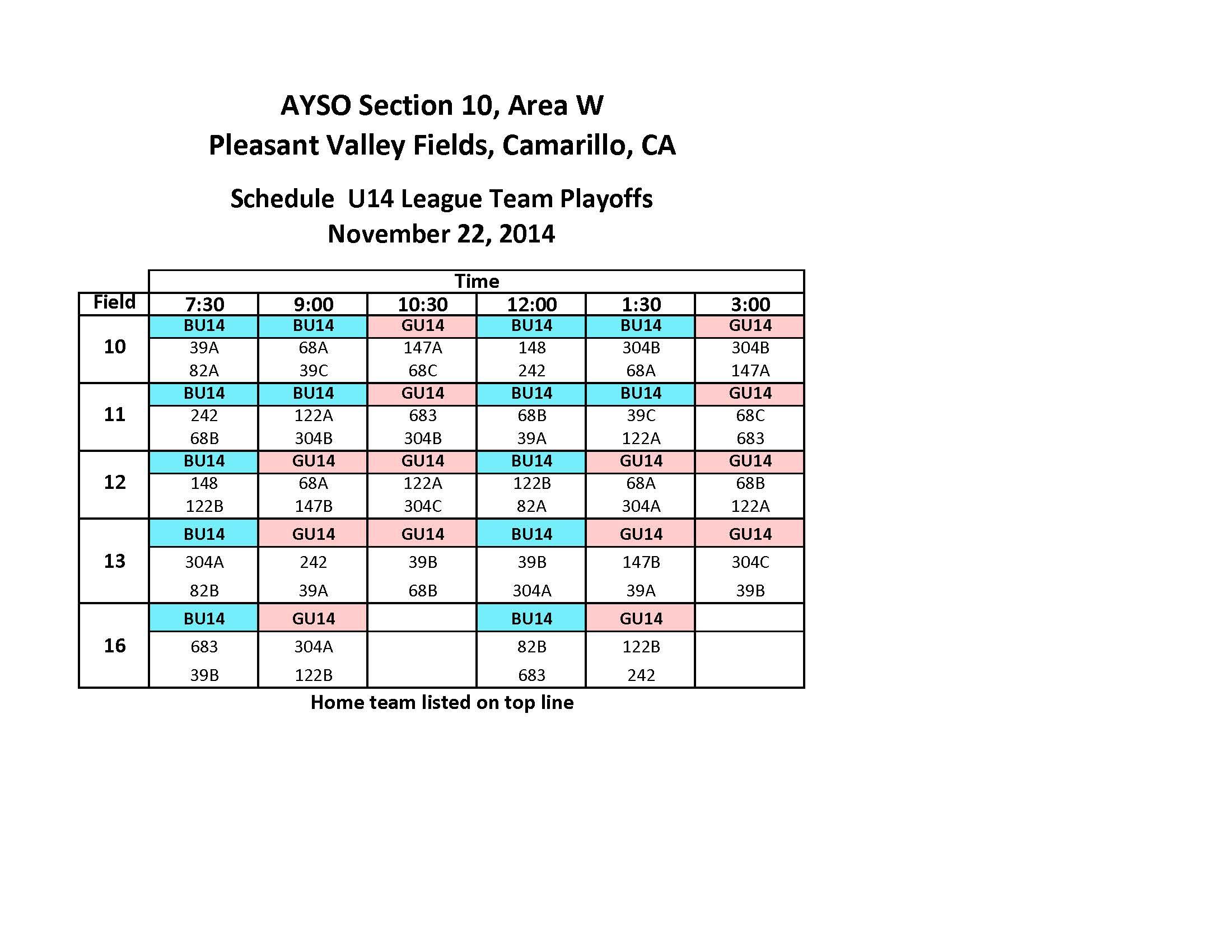 Area W Playoffs Schedule
