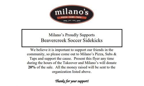 Dine at Milano's on May 17th