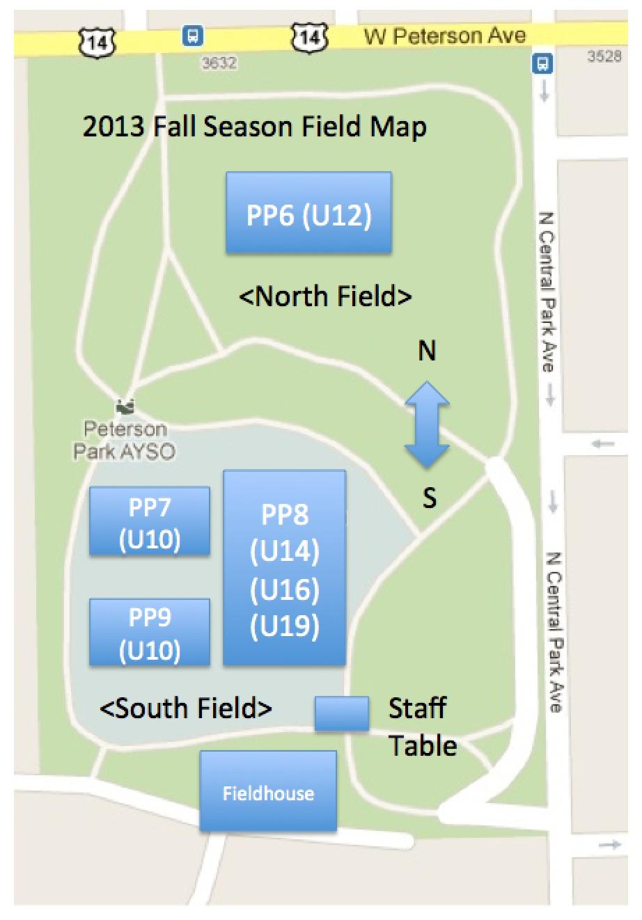 Ayso 418 Field Map U14 Girls Schedule