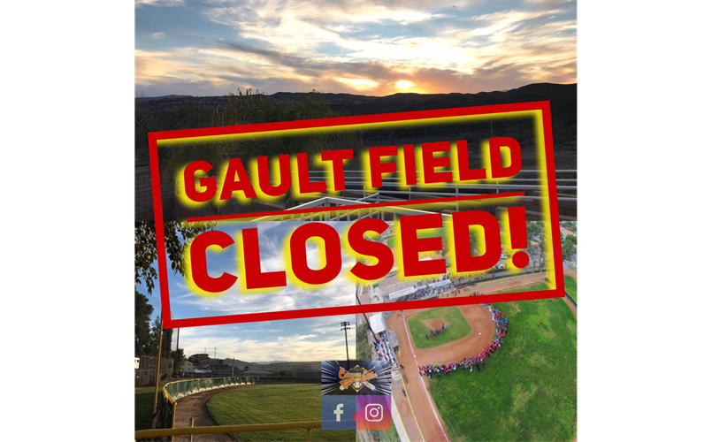 Gault Field Closed - Rain Closure-Still too wet and Covid closure