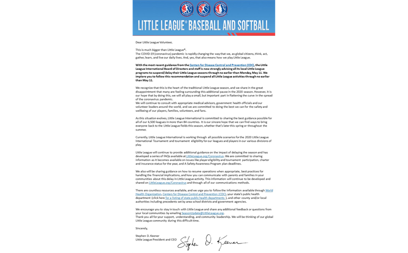 Corona Virus- UPDATED! Temporary Suspension of Little League Activities Until May 11th.