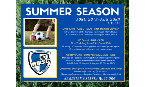 MUSC Little Kicks and U8 Summer Soccer Registration is Open!