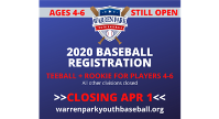 Registration for players ages 4-6 open thru April 1. All other divisions closed.