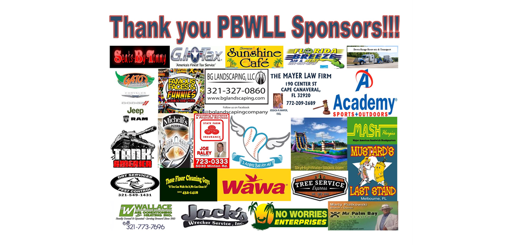 PBWLL thanks our Sponsors!