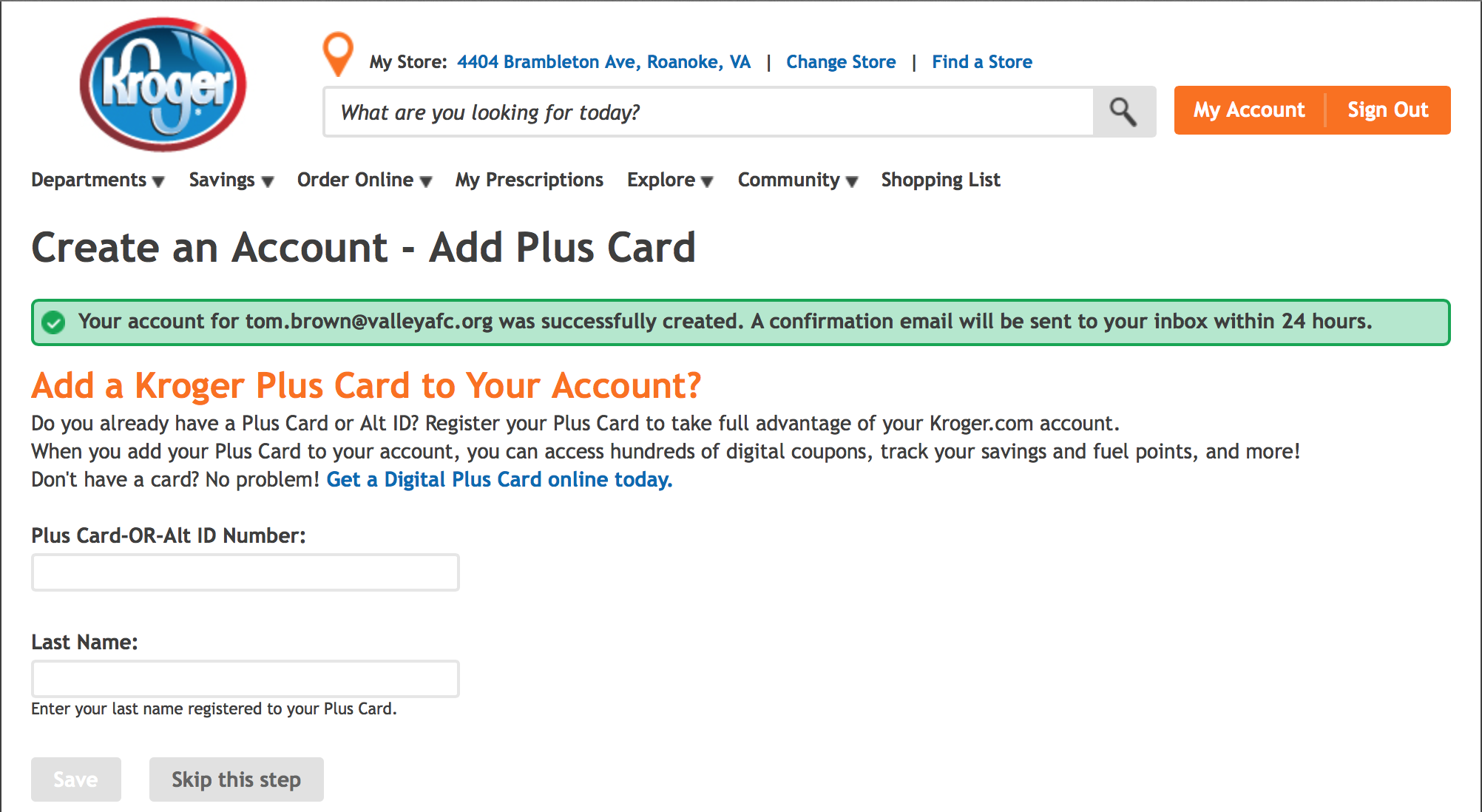 After account creation, you will be asked to link a Kroger Rewards # to the account