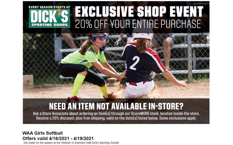 Dick's Sporting Goods 20% Off - April 16th-19th 2021