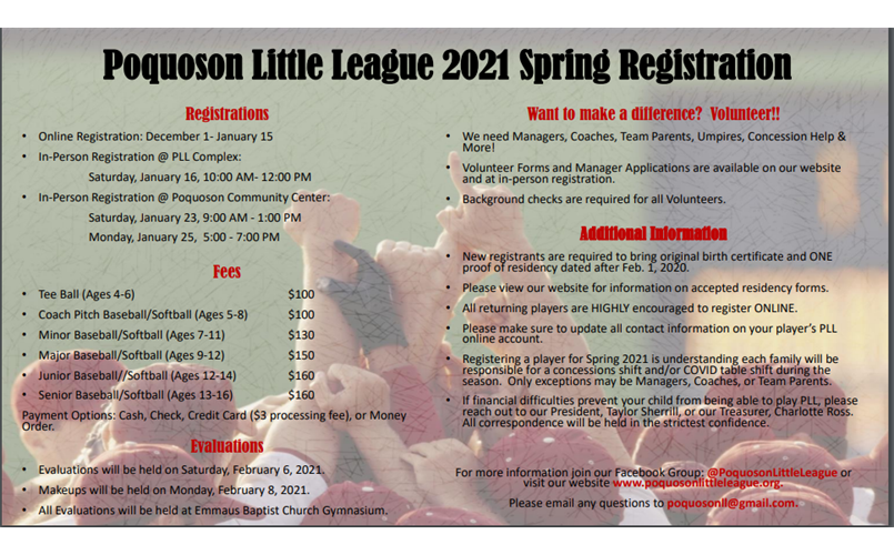 2021 Spring Registration Available!