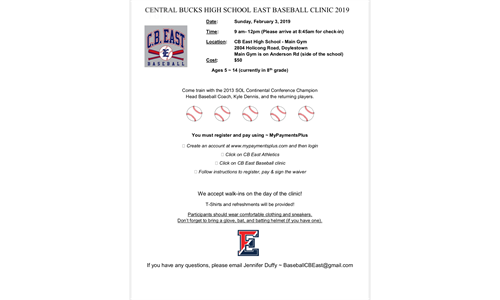 FEBRUARY CB EAST BASEBALL CAMP