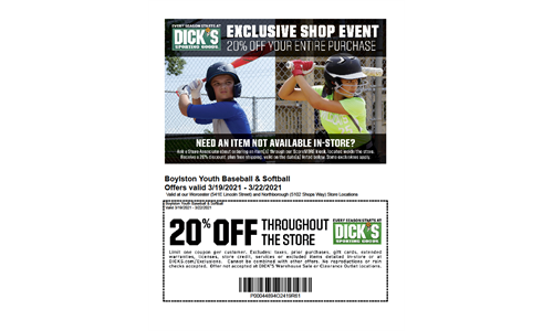 DICK'S SHOP EVENT 3/19 - 3/21