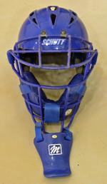 catcher's helmet with dangling throat guard