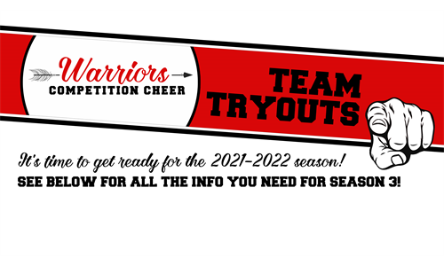 Competition Cheer Tryouts May 10 & 12!