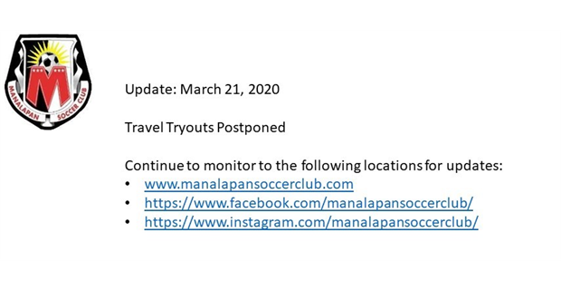 Travel Tryouts Postponed