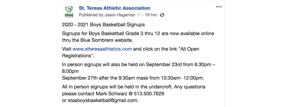 Boys Basketball In person Signups Today!!!
