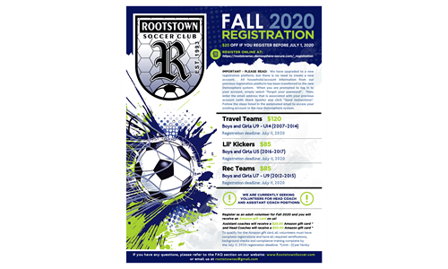 Fall 2020 Soccer Registration Now Open