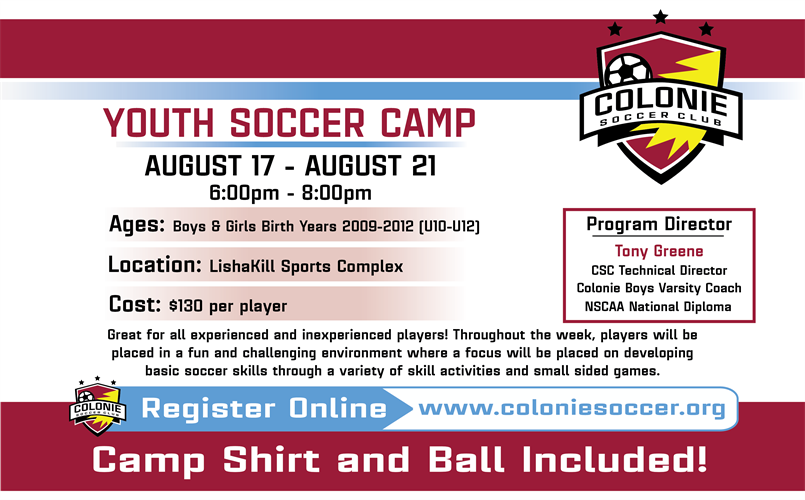 NEW!! Youth Soccer Camp - Click Link To Register
