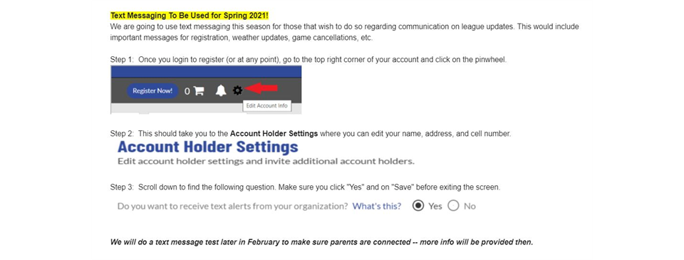 Sign up for text alerts for the Spring 2021 Season!