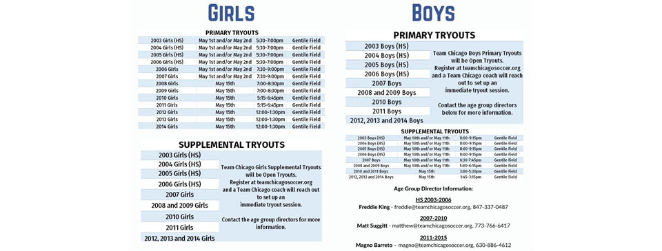 Tryouts Schedule