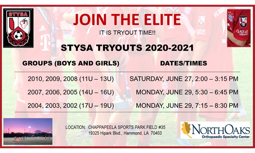STYSA ELITE TRYOUTS (CLICK HERE)