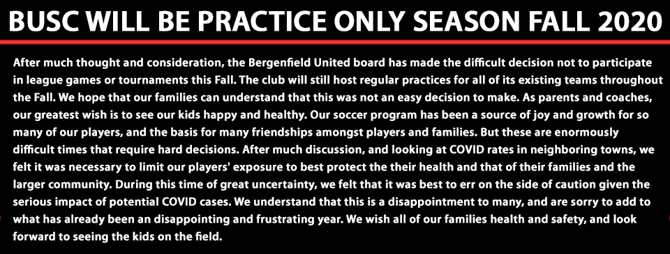 IMPORTANT MESSAGE-FALL 2020 PRACTICE ONLY