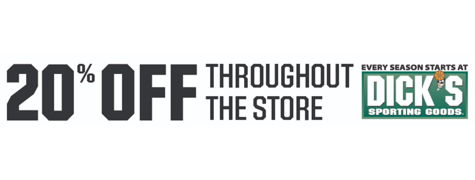20% Off at DICKS - December 4th through 7th